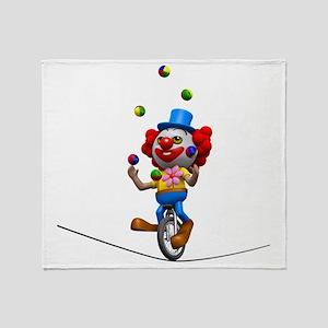 3d-clown-tightropeuni Throw Blanket