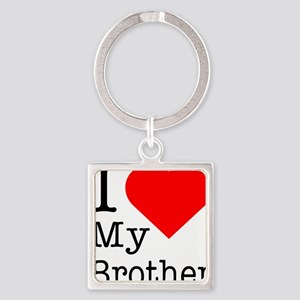 I-love-my-brother Square Keychain