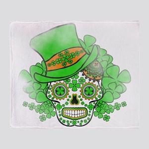 St.Patricks Day Skull Vintage Throw Blanket