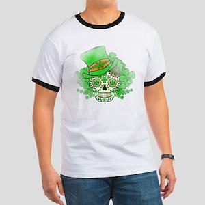 St.Patricks Day Skull Vintage Ringer T