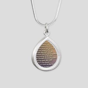 Alzheimers_prayer_callig Silver Teardrop Necklace