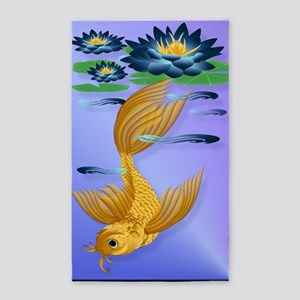 LargePosterGold Koi and Deep Blue L 3'x5' Area Rug