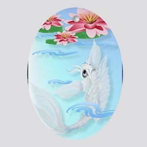 LargePosterSilver Koi-Pink and Pink  Oval Ornament