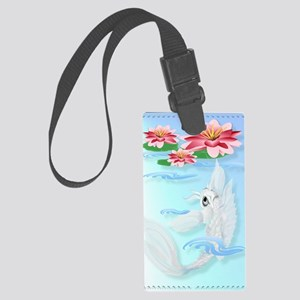 LargePosterSilver Koi-Pink and P Large Luggage Tag