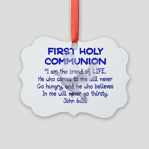 first communion dove BLUE letteri Picture Ornament