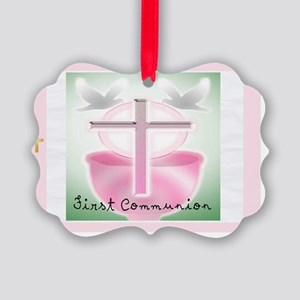 First Communion PINK POSTAGE Picture Ornament