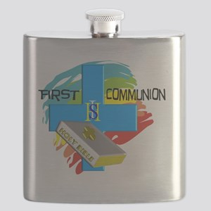 First Communion IHS Blue Cross Flask