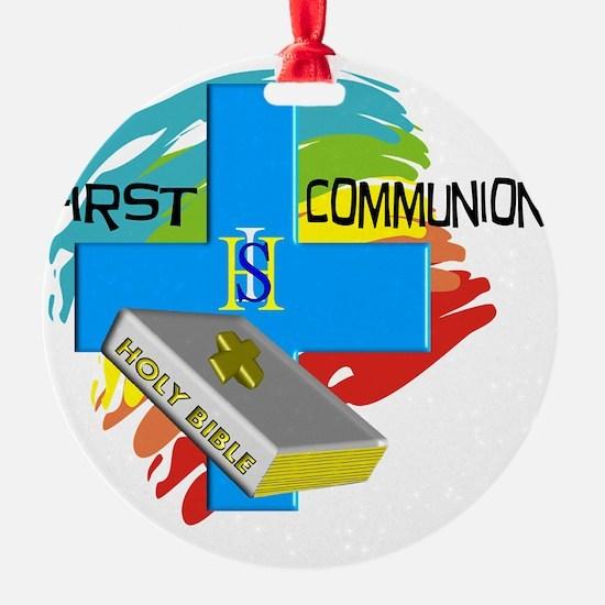 First Communion IHS Blue Cross Ornament