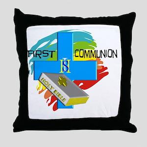 First Communion IHS Blue Cross Throw Pillow