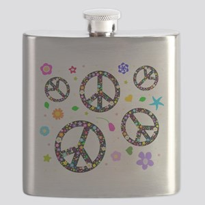 Peace signs and flowers pattern Flask