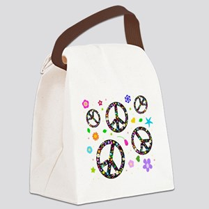 Peace signs and flowers pattern Canvas Lunch Bag