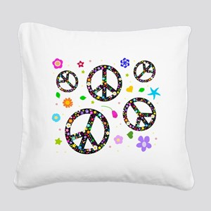 Peace signs and flowers patte Square Canvas Pillow
