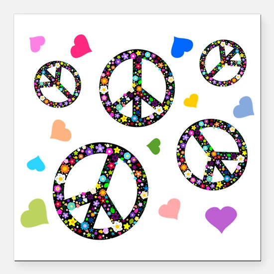 """Peace symbols and hearts Square Car Magnet 3"""" x 3"""""""