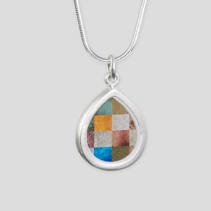Patchwork Quilt Squares Silver Teardrop Necklace