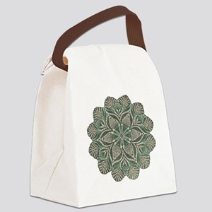 Green and Black Lace Doily Design Canvas Lunch Bag