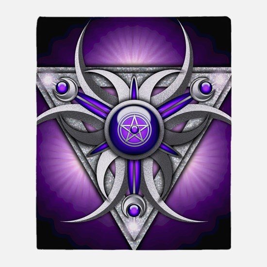 Triple Goddess - purple - square Throw Blanket