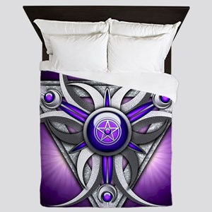 Triple Goddess - purple - stadium blan Queen Duvet