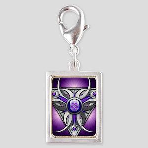 Triple Goddess - purple - st Silver Portrait Charm