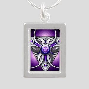 Triple Goddess - purple  Silver Portrait Necklace