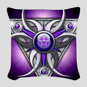 Triple Goddess - purple - stad Woven Throw Pillow