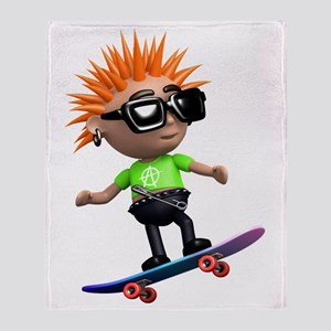 3d-punk-skateboard Throw Blanket