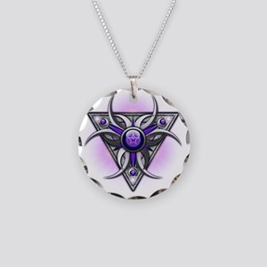 Triple Goddess - purple - tr Necklace Circle Charm