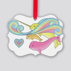 Pink narwhal + Yellow narwhal = o Picture Ornament