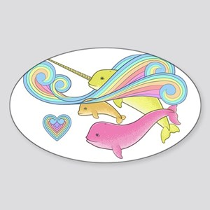 Pink narwhal + Yellow narwhal = ora Sticker (Oval)