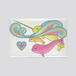 Pink narwhal + Yellow narwhal = o Rectangle Magnet