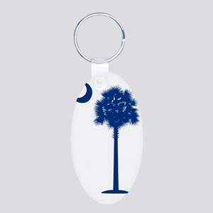 palmetto blue transparent Aluminum Oval Keychain