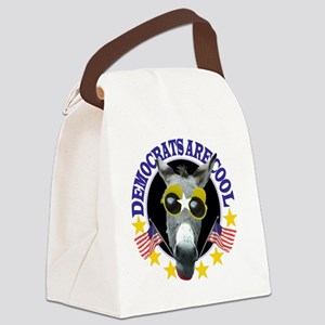 DEMOCRATS ARE COOL 2 WHITE BG Canvas Lunch Bag