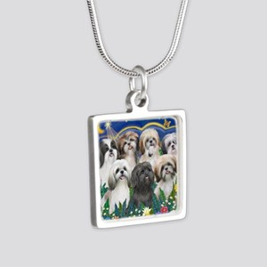 Tile-MoonGarden-7ShihTzuCU Silver Square Necklace