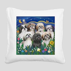 Tile-MoonGarden-7ShihTzuCUTIE Square Canvas Pillow
