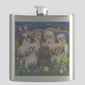 Tile-MoonGarden-7ShihTzuCUTIES Flask