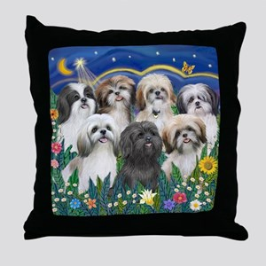 Tile-MoonGarden-7ShihTzuCUTIES Throw Pillow