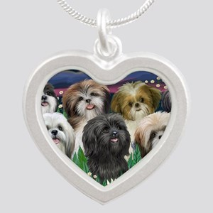 7 Shih Tzus - by JF Silver Heart Necklace