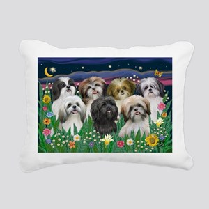 7 Shih Tzus - by JF Rectangular Canvas Pillow