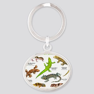 Geckos of the World Oval Keychain