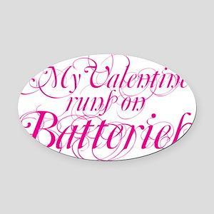 valentine batt copy Oval Car Magnet