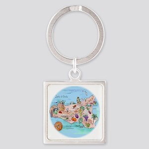 sic.map-1 Square Keychain