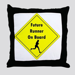 Future Runner On Board Maternity T-Sh Throw Pillow