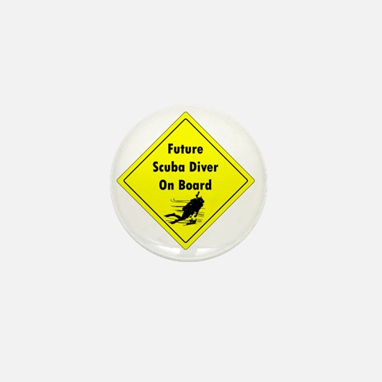 future scuba diver on board Mini Button