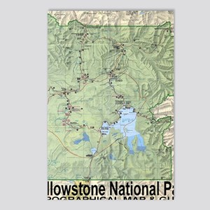 YNP_topographical_map_and Postcards (Package of 8)