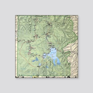 """YNP_topographical_map_and_g Square Sticker 3"""" x 3"""""""