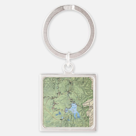 YNP_topographical_map_and_guide Square Keychain