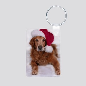 Santa Golden Retreiver Aluminum Photo Keychain