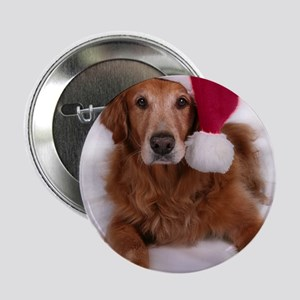 "Santa Golden Retreiver 2.25"" Button"