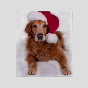 Santa Golden Retreiver Throw Blanket