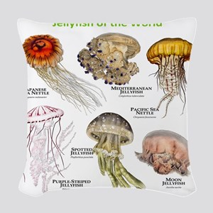 Jellyfish of the World Woven Throw Pillow