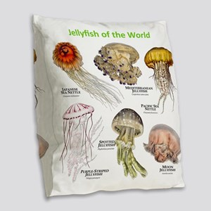 Jellyfish of the World Burlap Throw Pillow